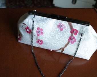 Brides maid Clutch purse with Hand Painted and Hand Beaded Cherry Blossoms on Brocade Satin
