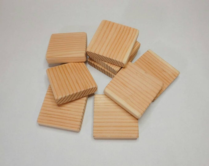 3 inch by 3/4 inch Square Blocks, All Natural, Unfinished or Finished, Sanded Edges, 3 Inch Square Wooden block Set