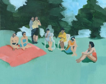 Our People - art print of abstract figurative painting | living room decor | people park picnic | friends group friendship | red green