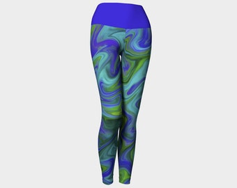 Cerulean blue and green wave yoga leggings for women, fold over top, abstract pattern, ocean, colourful, bright, fun
