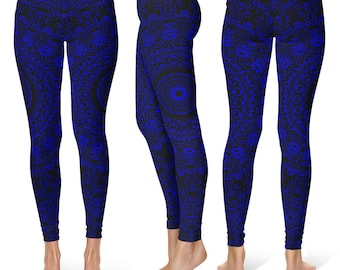 Blue Yoga Pants, Black Leggings with Blue Mandala Designs for Women, Printed Leggings, Pattern Yoga Tights