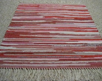 Handwoven Red and White Multi 25 x 33 (M)