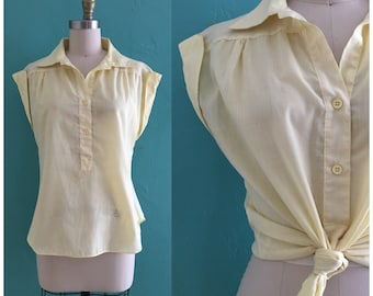 vintage 70's yellow cap sleeve top // yellow spring blouse