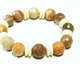 1pcs(jbrs0005) - bracelet with moonstone and bone