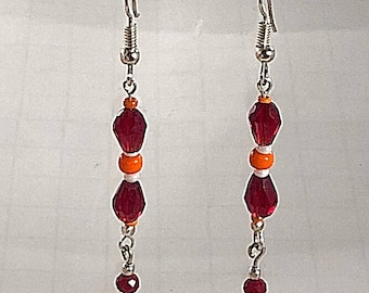 Red glass and Orange Bead Dangle Earrings