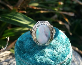 14k Gold Art Deco Style Opal Ring Size Size 6