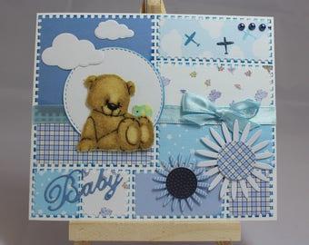 Card baby boy, kids, Teddy bear, mouse, flowers, clouds, fabric, handmade
