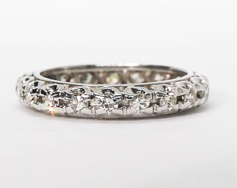 Vintage .75 Ct Single Cut Diamond and White Gold Eternity