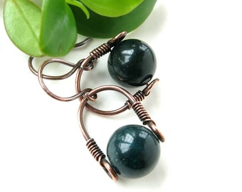 Green bloodstone earrings - copper wire wrapped gemstone bead