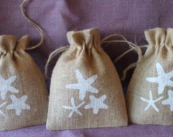 Burlap starfish bags.  5 x 7 burlap destination wedding favor bags. Beach wedding favor.  Beach party favor bag.  Rustic beach favor bag