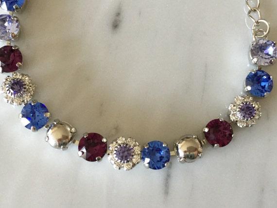 Amethyst & Tanzanite Swarovski Crystal Bracelet, Silver