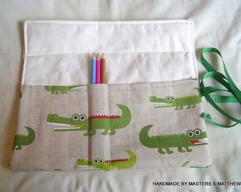 Colouring Pencil Roll, Crocodile Fabric, Pen Roll, Pencil Holder, Pencil Wrap, Pencil Pouch, Pencil Case, Brush Roll, Crocodile Stationery