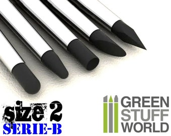Colour Shaper - Size #2 Black - NEW TIPS - Clay shapers Set - Silicon Brushes - Green Stuff Tool