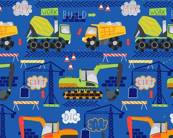 Cement Trucks on Cobalt Blue from Timeless Treasure's Dig It Collection