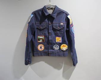 Vintage Denim Jacket With Patches Boy Scouts 70s 80s Boys Size XL