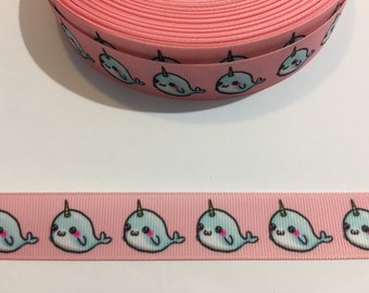 """3 Yards of 7/8"""" Ribbon - Pink with Narwhals"""