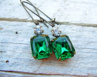 Emerald Green Vintage Rhinestone Earrings Patina Brass Settings