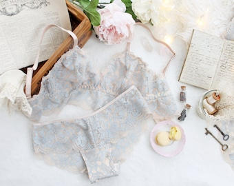 Champagne and Powder Blue Lace 'Hestia' Longline Soft Bra and Hipster Lacy Panties Handmade Bridal Lingerie