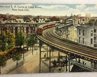 Vintage NY Postcard  New York City Elevated Rail Road Curve at 110th St