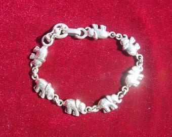 Vintage Sterling Silver Elephant Link Bracelet