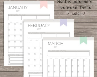 Monthly Planner Printable - 2017 Planner - 2017 Monthly Planner - Monthly Calendar - 2017 Planner Printable - Calendar Printable - Organizer