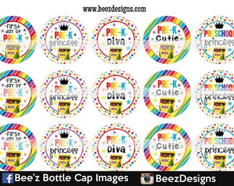 Pre-K Diva, INSTANT DOWNLOAD, 1 Inch Bottle Cap Images