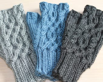 Women's knit fingerless gloves with circular cable