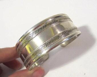 Vintage sterling silver Filigree Cuff Bracelet