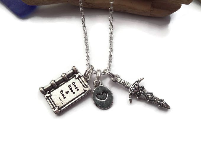 Book necklace, dagger necklace, magic necklace, believe necklace, good versus bad, once time necklace, story book gift, fandom gift,