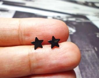 Black Star Stud Earrings, Sterling Silver Star Earrings, Star Stud earrings