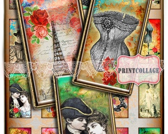 Domino Pendants / Vintage Accessories Digital Collage Sheet 1 x 2 inch Domino Printable images Jewelry Backgrounds c123