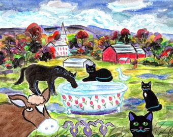 ORIGINAL PAINTING,  3 Black Cats with Rare Lalique Tulip Tub Drinking Fountain in Peacham Vermont, by DM Laughlin