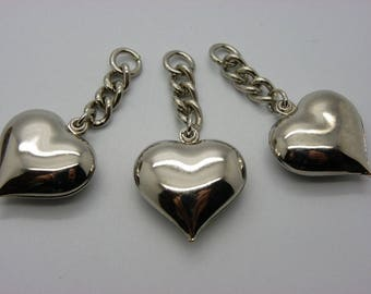 set of 3 hearts in brass silver charm with chain 28 mm x 28 mm