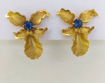 Signed  Bugbee and Niles Gold Plate Blue Orchid Earrings - Blue Rhinestone Floral Screw Back Earrings- Gold Flower Earrings