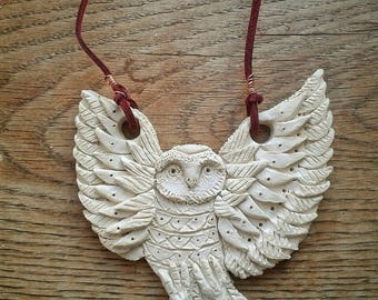 Ceramic Porcelain Clay Swooping Barn Owl Hanging Decoration