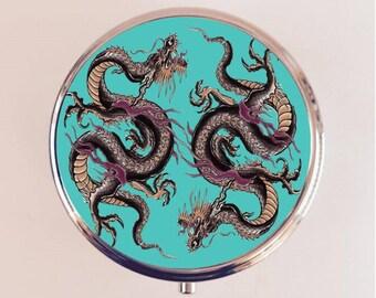Dragon Tattoo Pill Box Case Pillbox Holder Trinket Stash Box Japanese Japan