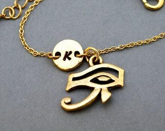 Eye of Ra bracelet, Eye of Re, Eye of Horus, antique gold, initial bracelet, friendship, mothers, adjustable, monogram