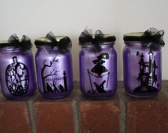 Set of 4 Halloween Lanterns -Haunted Mansion Ghost, Hitchhiking Ghost, Pumpkin, Tight rope walker, 16oz, pint size mason jars