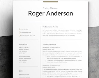 Professional Resume Template | Functional Resume Template for Word | One, Two Page Resume Template | Clean & Simple Resume Instant Download