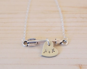 Personalized Hand Stamped Love Arrow Necklace