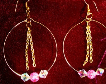 SWAROVSKI Aurora bore lese, Hot pink crackle beads, Gold wire hoops, gold dangle chains, RedRobinArt, Grigsby Gallery and Gifts