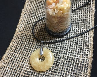 Yellow Aventurine Donut Necklace 50cm with Yellow Aventurine Dome Chips 6cm - Gift Set