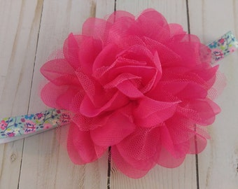 Pink and Blue Floral Infant headband | Summer Headband | Pink Flower Headband | Summer Floral Headband | Infant | Toddler | Child |