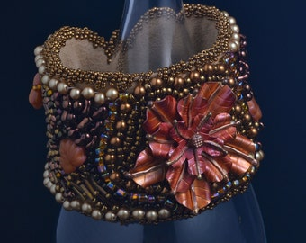 Statement-OOAK-Cuff-Bracelet-Bead -Embroidery-Copper-Flower-Focal-Earth tones-Bronze-Autumn