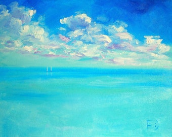 Bright painting, Landscape, Original painting, Turquoise color, Сlouds, Ocean, Oil painting, Gift for her, Home decor, Living room picture