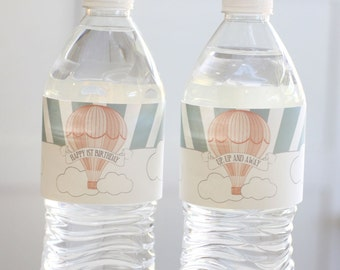Printable water bottle labels - Hot air balloon party - Child's party - Baby shower - Customizable