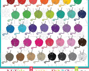 Yarn Ball Clipart, Knitting Clipart, Crochet Clipart, Rainbow Clipart, Digital Download, Instant Download,