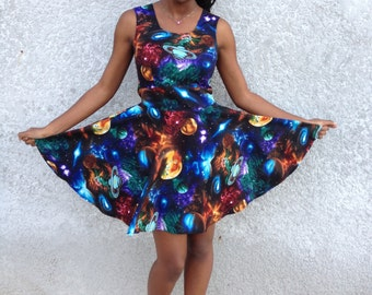 Galaxy print Babydoll dress with back cut-out sizes S M L