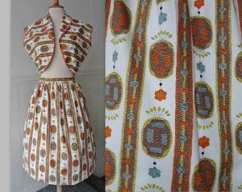 50s Vintage Two Piece Set With Beautiful Print // Cotton // Orange Blue Brown Yellow Print // Size 40