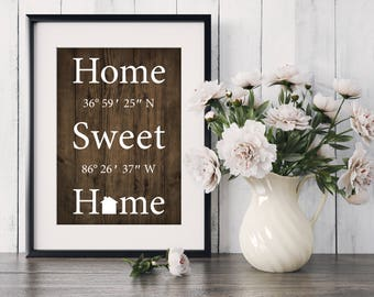 Home Sweet Home, personalized coordinate, house warming, newly weds, anniversary, gift, home decor, art, print, poster